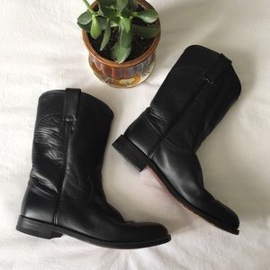 Vintage Justin Leather Black Roper Boots, Size 9B